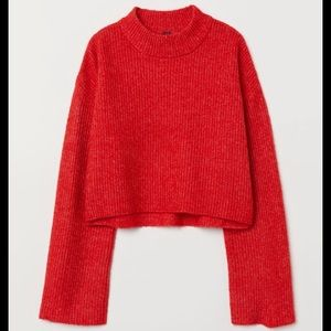 H&M Red Mock Neck Sweater